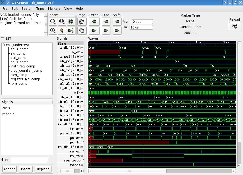 GTKwave med en lite mer komplex vågformsdump.